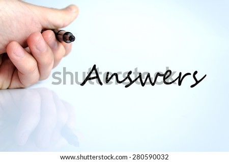 Pen in the hand isolated over white background Answers concept - stock photo