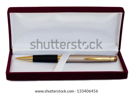 pen in the pencil case on white background