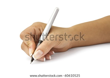 pen in woman hand isolated on white background - stock photo