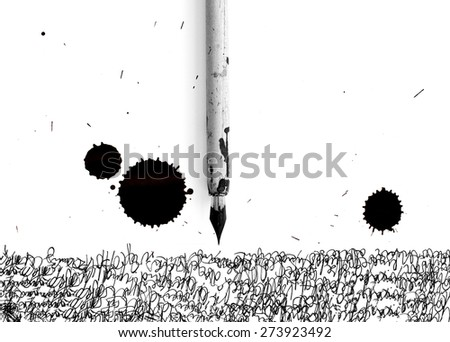pen, letter and ink jet bob - white space for your text - stock photo
