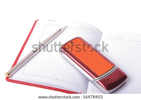 pen notepad and telephone on white background - stock photo