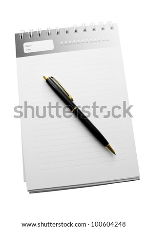 pen on a diary with striped paper isolated on white background.