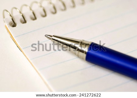 Pen On Paper/ Focus On Pen Tip/ Time To Write Your List  - stock photo