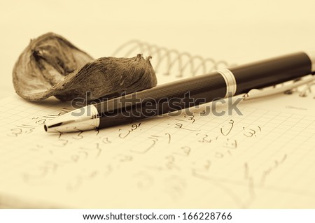 pen,pink, and letter with sepia toned - stock photo