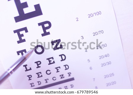 Pen pointing to letter in eyesight check table. Driver health certificate examination