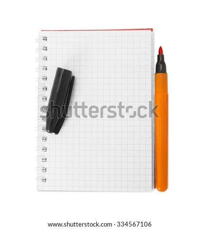 pen resting on a blank note pad isolated on white