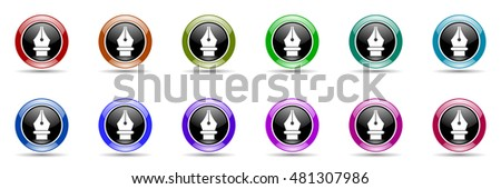pen round glossy colorful web icon set