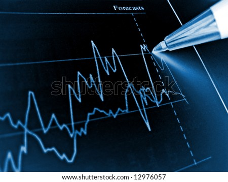 Pen showing diagram on financial report 4 - stock photo