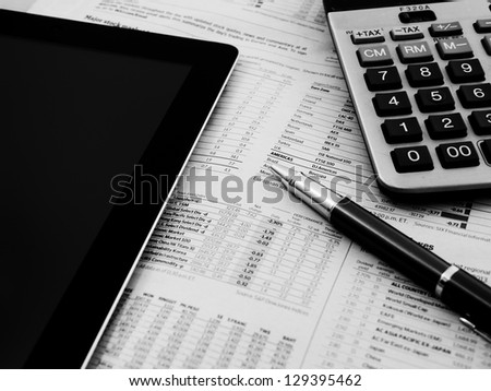 Pen,Tablet And Calculator - stock photo