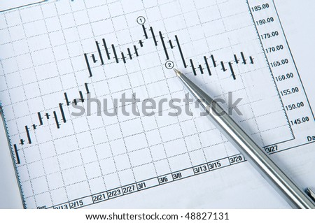 Pen with candle stick chart - stock photo