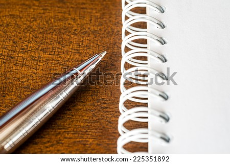 Pen with the notebook