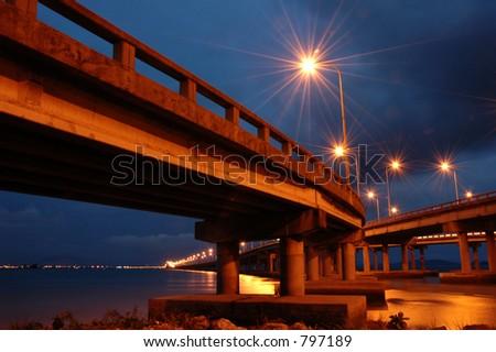 Penang Bridge at Twilight Hour - stock photo