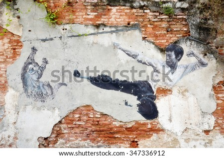 PENANG, MALAYSIA - NOV 26, 2015: Painting of a street mural painting 'The Real Bruce Lee Would Never Do This' painted by 101 Lost Kittens in Penang