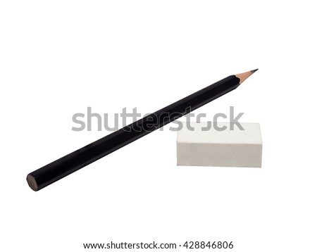 pencil and eraser isolated on the white - stock photo