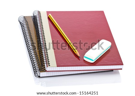 Pencil and eraser on a two notebooks reflected on white background. Shallow depth of field - stock photo