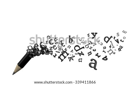 Pencil and Flying Letters - stock photo