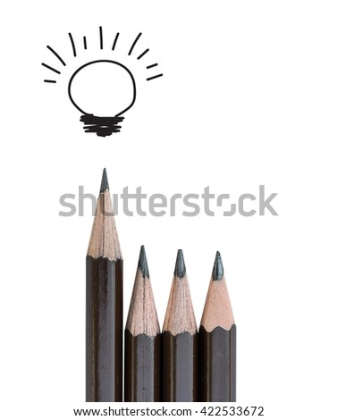pencil and light bulb on white, idea concept and  leadership - stock photo