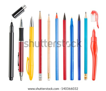 Pencil and pen collection isolated on white - stock photo