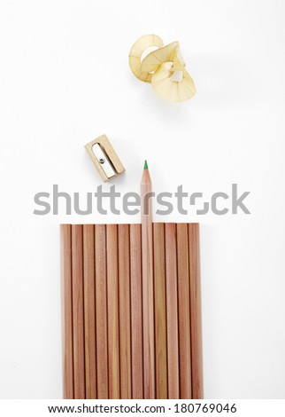 pencil and Pencil sharpeners on white background - stock photo