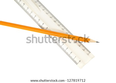 pencil and ruler isolated on white background - stock photo