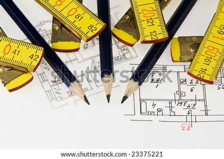 Pencil and ruler on the architectural plan - stock photo