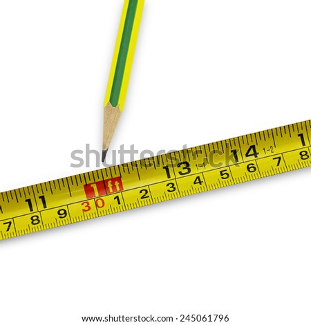 pencil and tape measure on white background(with clipping path) - stock photo