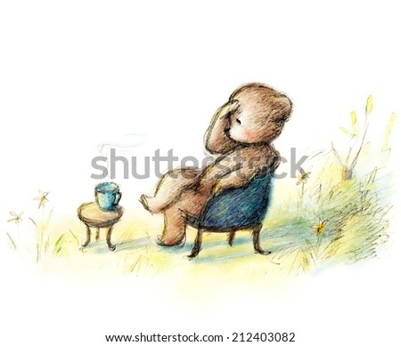 pencil and watercolor drawing teddy bear sitting in the blue chair - stock photo