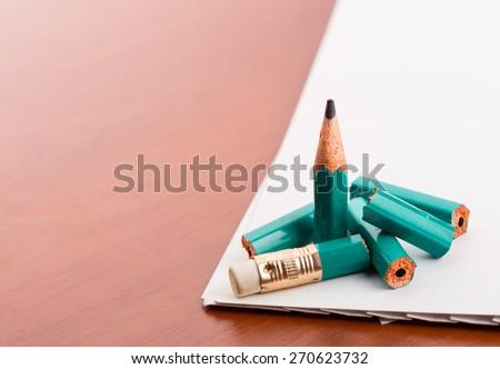 Pencil broke into pieces - stock photo
