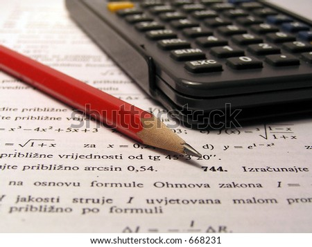 Pencil, calculator, mathematics