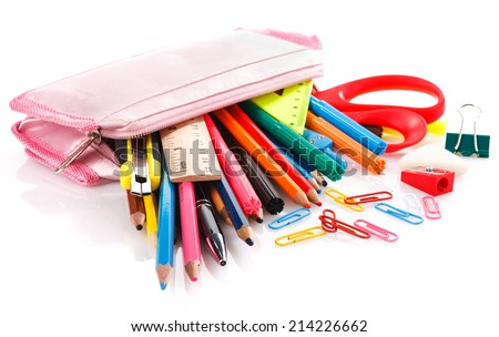 pencil case full of school supplies - stock photo