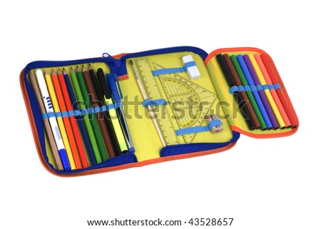 pencil case isolated on white background - stock photo