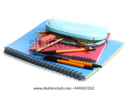 pencil case with notebooks and small accessories on a white isolated background