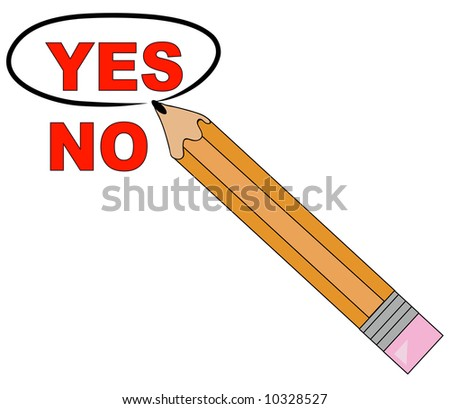 pencil choosing yes and circling it - stock photo