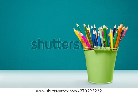 Pencil. Colorful pencils in pail isolated on white - stock photo