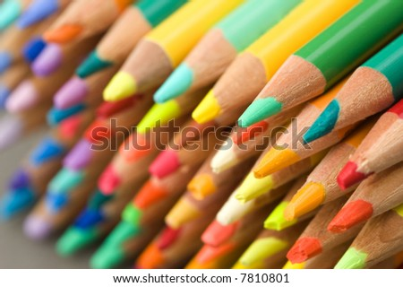 pencil crayons - points - narrow DOF - stock photo