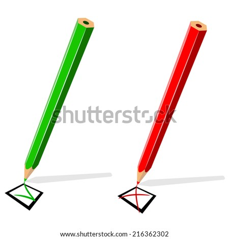 Pencil drawing green tick and red cross isolated on white background. - stock photo
