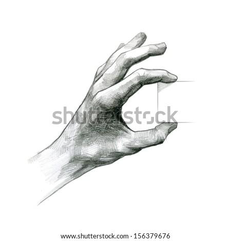 pencil drawing Hand Hold Virtual Card - stock photo