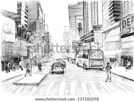 Pencil drawing of a big modern city in new york style with skyscrapers and pedestrian