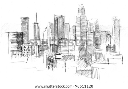 Architectural Drawings Of Skyscrapers pencil drawing big modern city skyscrapers stock illustration