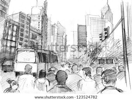 Pencil drawing of a big modern city with skyscrapers and plenty of people - stock photo