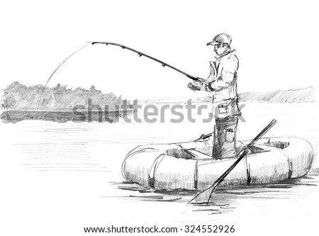 Pencil drawing of a fisherman with a rod fishing on the boat - stock photo