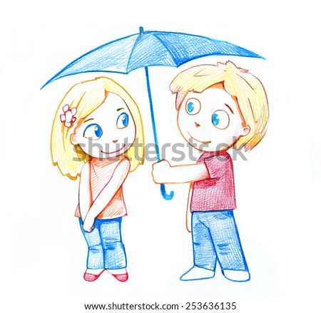 Pencil drawing of a guy and the girl under an umbrella