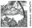 Pencil drawing of a lake surrounded by rocky mountains and trees - stock photo