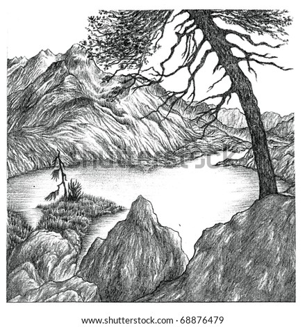 Pencil drawing of a lake surrounded by rocky mountains and trees