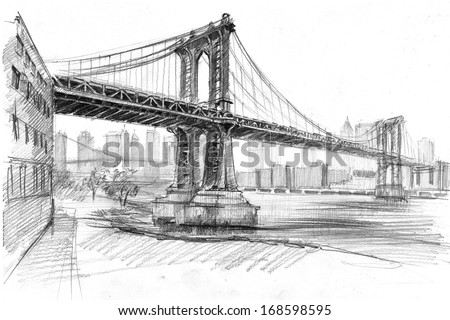 Pencil Drawing Landscape Set Skyscrapers Manhattan Stock