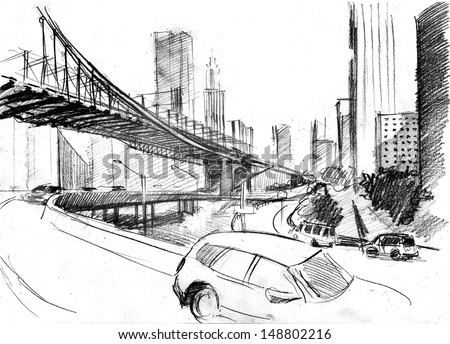 Pencil drawing of a landscape with set of skyscrapers, cars and Brooklyn bridge in New York - stock photo