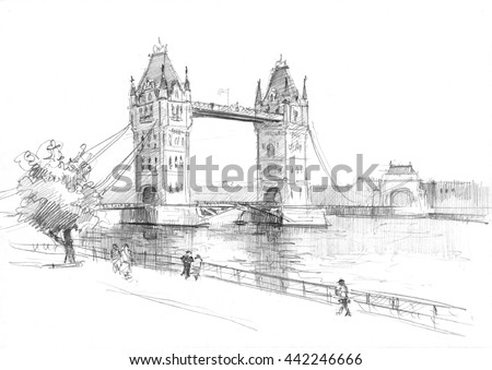 Pencil drawing of a London bridge, embankment and pedestrians