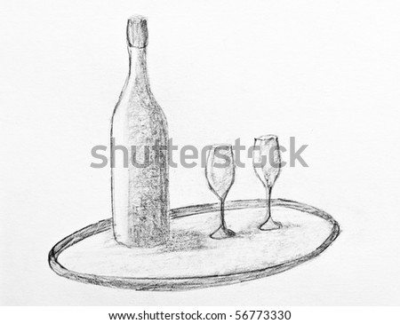 Beer Pencil Drawing Pencil Drawing of a Wine