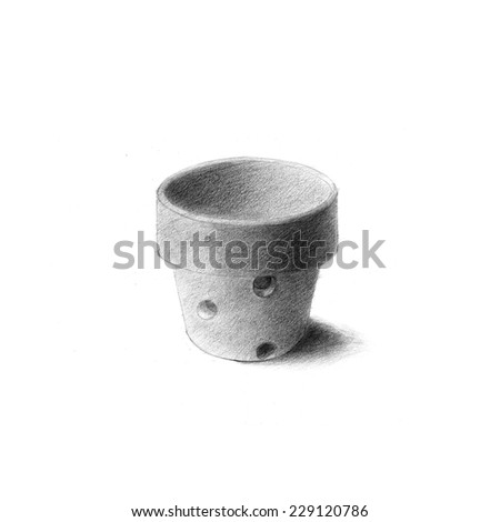 Pencil drawing of flowerpot on white background. - stock photo