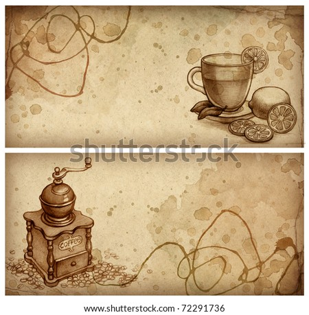 Pencil drawing of glass cup of tea with lemon and sketch of coffee grinder - stock photo